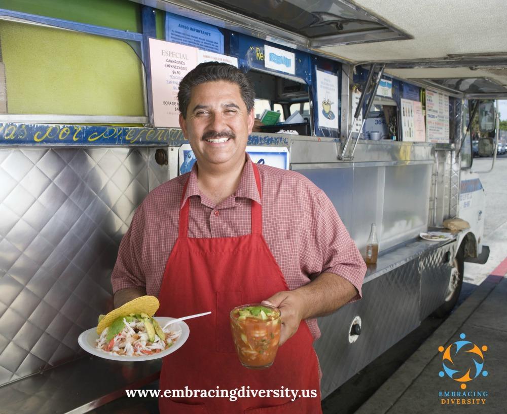 Portrait of man outside mobile cafe